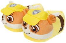 Paw Patrol Rubble 3d Slippers Character Novelty Kids Cosy Pups 4 Sizes Yellow