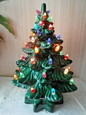 """VINTAGE 13"""" Green Color Ceramic Christmas Tree w Assorted Color Tips + Extra"""