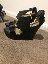 Mimco Black Atlantis Wedges Size 38