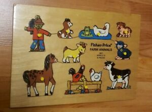 VTG 1972 FISHER PRICE FARM ANIMALS #507 WOOD PUZZLE THE QUAKER OATS CO HOLLAND