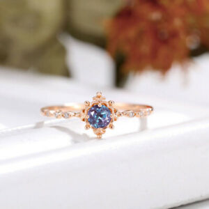 14k Rose Gold Plated Color Changing Blue Alexandrite Solitaire Engagement Ring