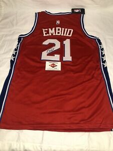 """JOEL EMBIID Autographed """"The Process"""" Red Statement Edition Nike Jersey"""