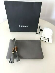 Gucci Women's Leather Bamboo Clutch Gray NEW in BOX