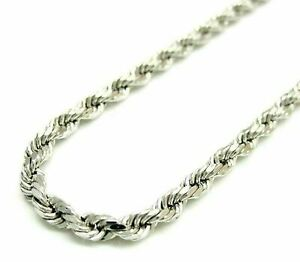 Solid 925 Sterling Silver Italian Rope Chain Mens Necklace 3.50mm - Diamond Cut