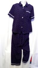 TEDDI WOMAN'S MEDIUM/10 PANTS SUIT NAVY BLUE/POLKA DOTS W/CHECKERED DESIGN SS
