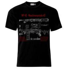 MP40 Schmeisser Submachine Gun Maschinenpistole Blueprint Wehrmacht T-Shirt