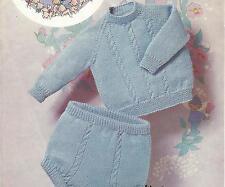 "Vintage Knitting Pattern Baby Jumper & Shorts 18""- 20"" Chest, number 287"