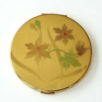Elgin Floral Powder Compact Puff Tinted Wash Green Pink Round Gold 1950s Vintage
