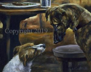 Mick Cawston 'Go on I Dare You!'. Lurcher and Terrier Dog, fine art print