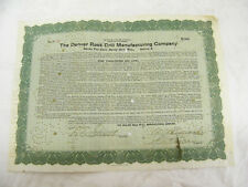 Vintage 1920 Stock Certificate The Denver Rock Drill Manufacturing Company