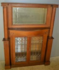 18875 Victorian Oak Mantle Cabinet with Leaded Glass & Pillar 00006000 s