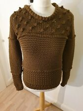 Pull And Bear Handcrafted Knitted Khaki Ladies Jumper Size Small