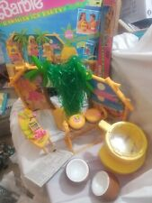 Vintage Mattel 1990 Barbie Hawaiian Ice Party Playset Luau Bbq Set Incomplete