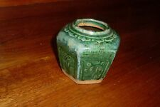 Vintage Hexagonal Chinese Ginger Jar Dark Green Glaze -Floral Design