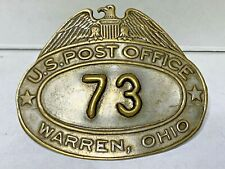 Vtg WARREN, OHIO Letter Carrier Hat Badge Post Office Embossed #73 OH *OBSOLETE*