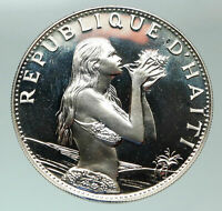 1973 HAITI Mermaid Woman w/ Conch Old French Silver Proof 50 Gourdes Coin i84851
