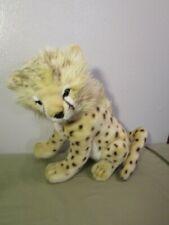 "Hansa Cheetah Cub Sitting 12"" Plush Toy Stuffed Animal Realistic Spots"
