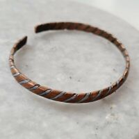 Vintage Mixed Metal Twisted Copper and Sterling 925 Silver Cuff Boho Unisex