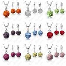 Classic Austrian Crystal Necklace Earrings Pave Disco Ball Beads CZ Jewelry Set