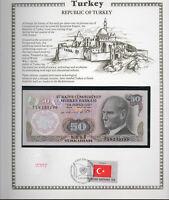 Turkey Banknote 50 Lirasi 1970 UNC P 188 UN FDI FLAG STAMP Prefix F19