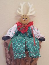 Vintage Wooden sitting Reindeer Christmas Decoration Wood Figurine Xmas Decor