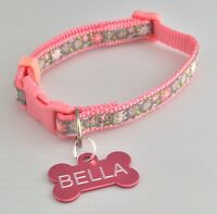Flower Pattern Pink Dog/Puppy collar TEACUP XS SMALL PUPPY YORKIE CHIHUAHUA