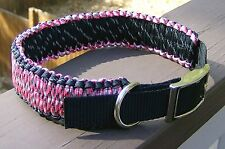 "18-22"" or custom size,Adjustable Paracord Dog Collar Reflective  ~Veteran Made~"