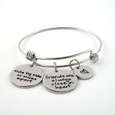 Stainless Steel Friends Pendant Adjust Wire Bracelet Inspirational Charm Bangle