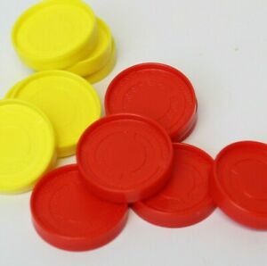 Set of 12 2013 Connect 4 Game Replacement Checkers Tokens 6 Each Red & Yellow