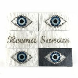 Personalised CUSTOM Evil Eye Evening Wedding Party Clutch Bag Gifts