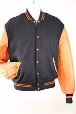 Vintage Lettermans Orange Black Leather Varsity Snap Button Jacket Mens M 48L