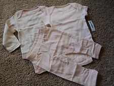 NWT 6-12M OLD NAVY Pink 3pc Set Long/Short Sleeve Bodysuit & Pants Outfit