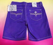 Women's South Pole Royal Purple Denim Shorts Size 5 Stretch Teen Southpole New
