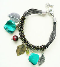 ACCESSORIZE MULTI ROW BRACELET - BEAUTIFUL DETAIL_JADE GREEN NUGGET BEADS - NEW