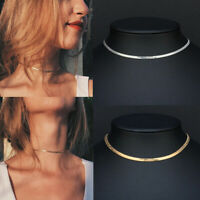 Silver Gold Flat Blade Collar Necklace  Clavicle  Sequins Snake Chain Choker