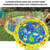 Outdoor Water Play Mat Sprinkler Kids Toy Activity Toddlers Baby Pool Fun New Oh