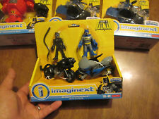 IMAGINEXT LEGENDS OF BATMAN , BATMAN & CATWOMAN WITH CYCLES BLACK BLUE NEW