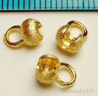 4x REAL 18K GOLD plated STERLING SILVER SATIN CRIMP BEAD COVER 4.2mm G041