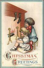 Christmas - Kids Wait at Fireplace For Santa Claus c1915 Postcard S.625