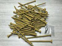 "1 LB 55 PC Tan 10 x 3 - 1/2"" Exterior Wood Screws T25 Star Bit Included"