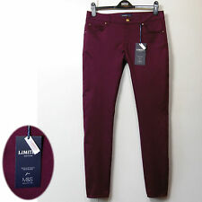New M&S Ankle Skimmer SKINNY Leg STRETCH JEANS / JEGGINGS ~ Size 10 Med , CLARET