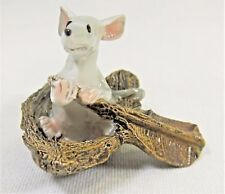 Mouse Rowing a Nut Shell mini collection fantasy decor figurine