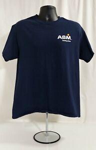 ABM BUILDING VALUE Men's Navy Blue T-Shirt L EUC
