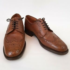 Angus Westley Tan Leather Derby Wingtip Brogues UK Size 6.5 Made England Latimer