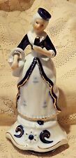 Vintage Mid-20th Century Porcelain Figurine Music Box - Lovely Colonial Woman