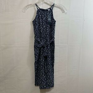 Abercrombie Kids Girls Pintuck Jumpsuit in Blue Floral Size 5/6