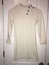 Gymboree Size 8 Cream Sweater Dress Long Sleeve Sparkle Ivory Cable Knit Girls