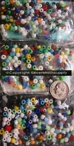Glass seed beads multi color opaque size E  50grams hundreds of bead lots gbs058