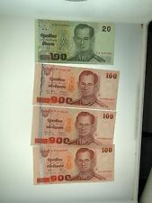 (3) UNC BANK OF THAILAND 100 BAHT & (1) BANK OF THAILAND 20 BAHT CURRENCY NOTES