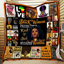 Black Woman Quilt Blanket, African Women Gift, Funny Gifts for Black Women